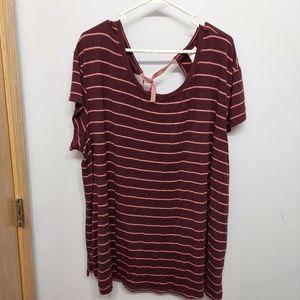 Terra & Sky Striped t shirt flowy tie back 3x plus
